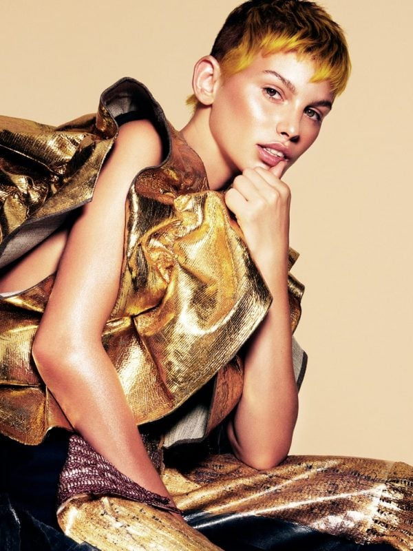 Short cropped hair gold styling