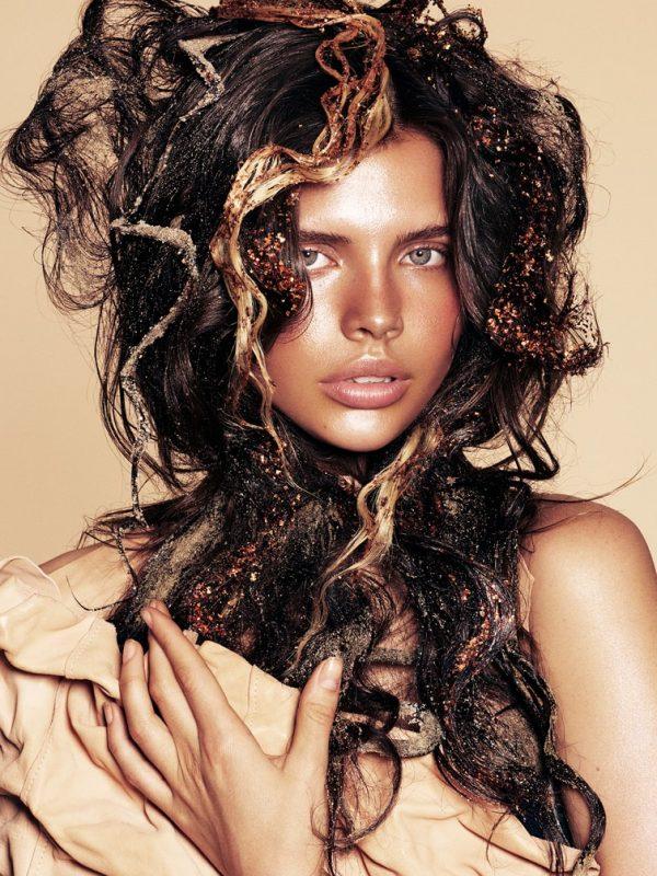 Brunette female hair model in colour