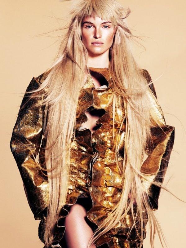 Blonde female hair model in colour