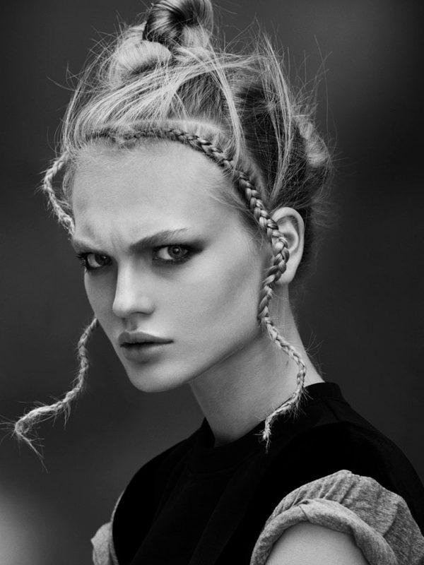 Female braids hair modelling