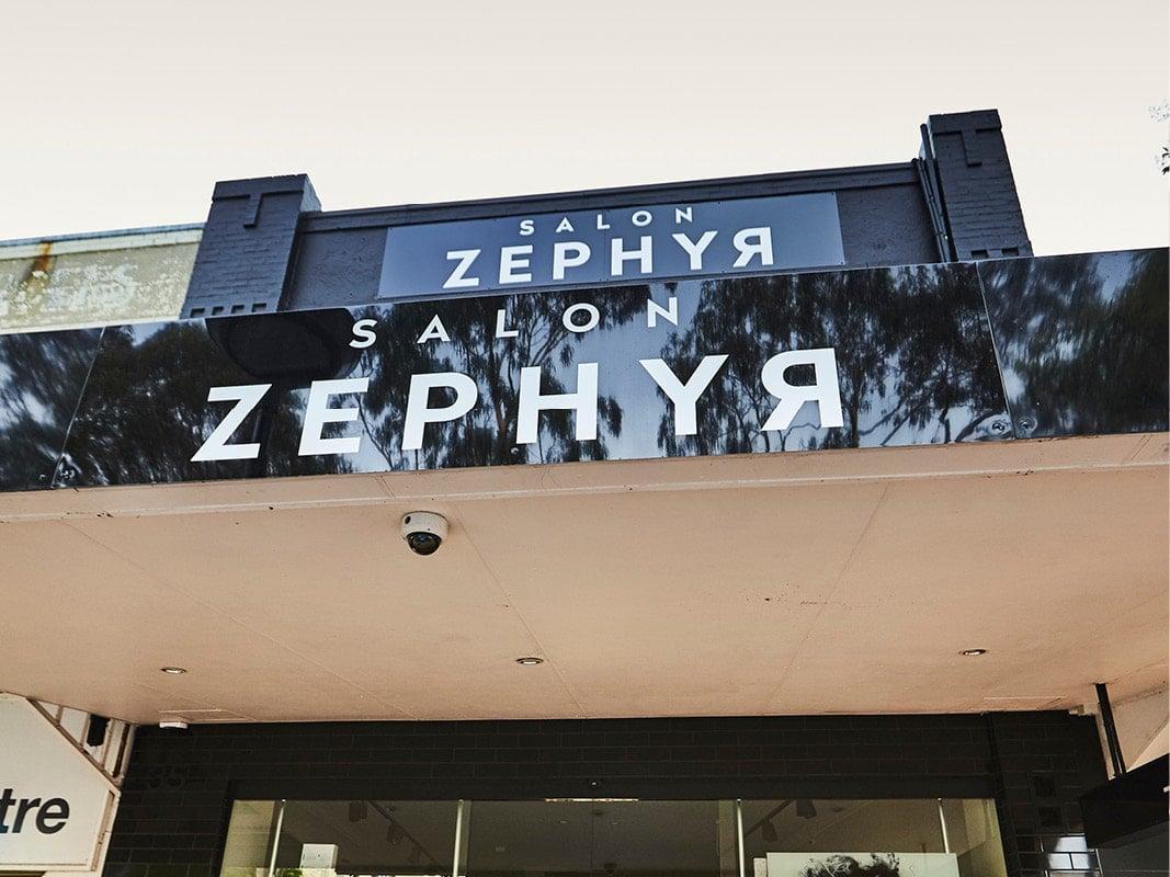 Salon Zephyr Store Signage