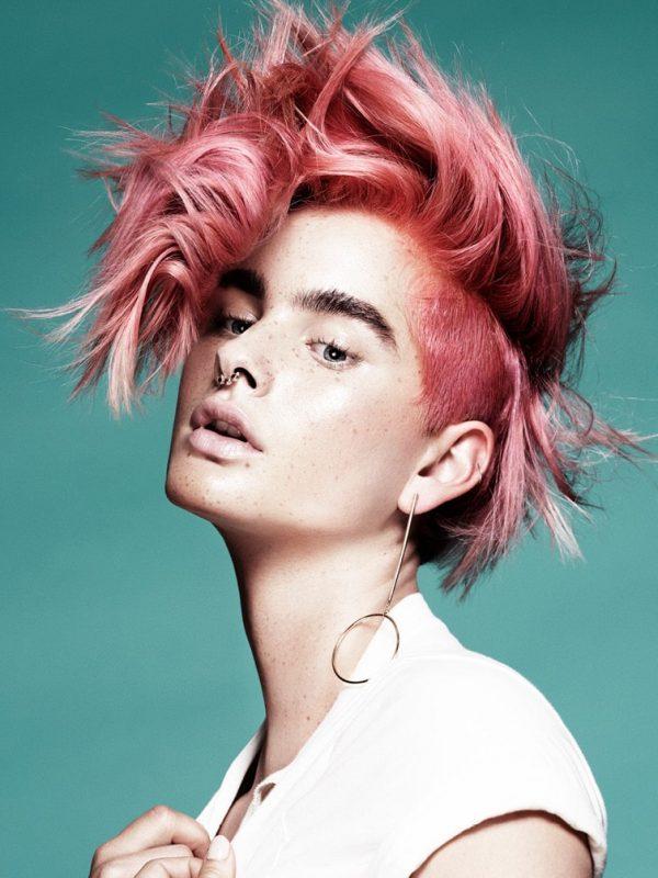 pink hair fair skinned model female